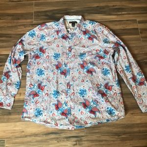 INC XXL Western Style Snap Paisley Shirt
